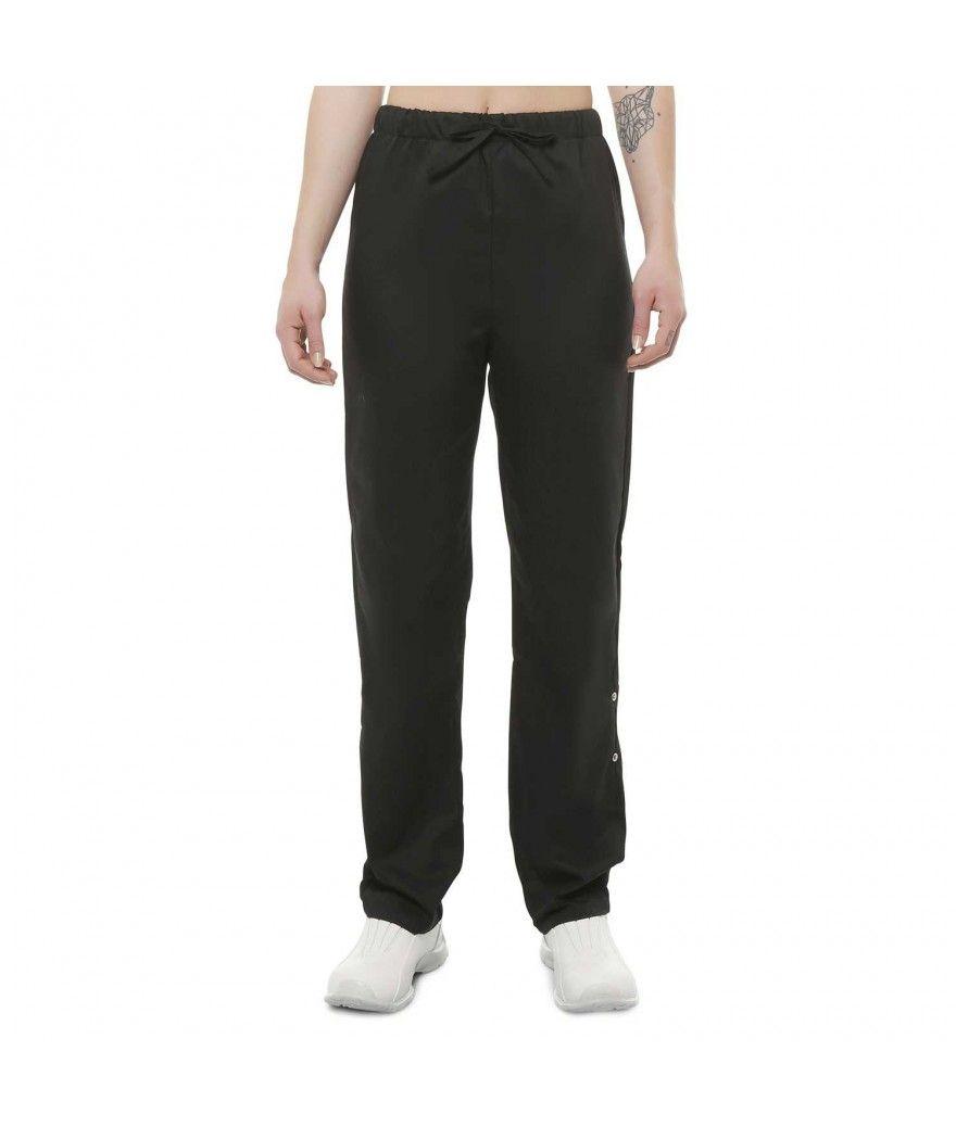 Pantalon de cuisine noir pour femme avec lastique la taille for Pantalon cuisine noir