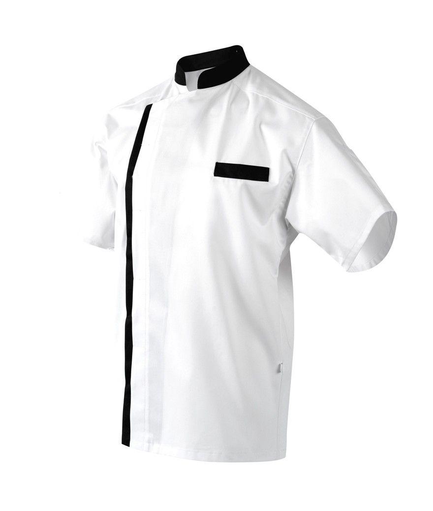 Veste de cuisine MAJORQUE MC blanc/noir