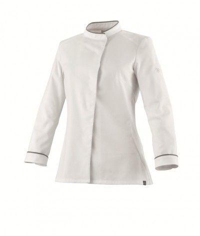 Veste de cuisine femme 37.5 CAVANE ML Blanc/gris chiné