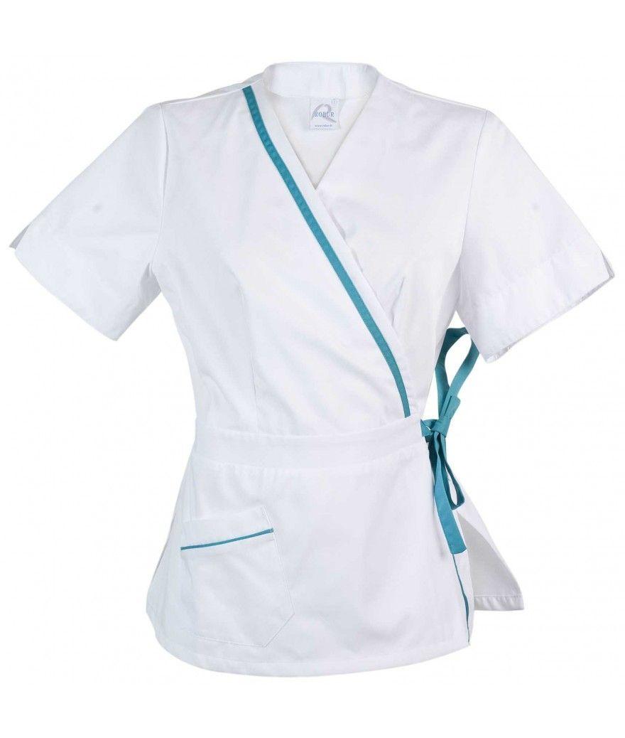 blouse Manéa courtes Blanc Turquoise